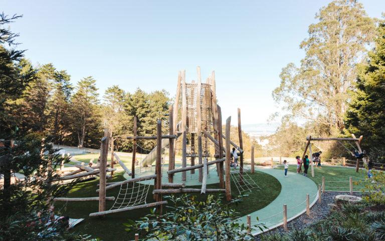 San Francisco natural playground net rope tower log climbing