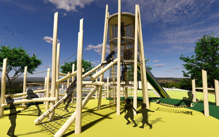 san francisco california natural wood playground log tower hammock climber non-prescriptive