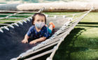 San Francisco California natural wood playground rope net rubber sling hammock