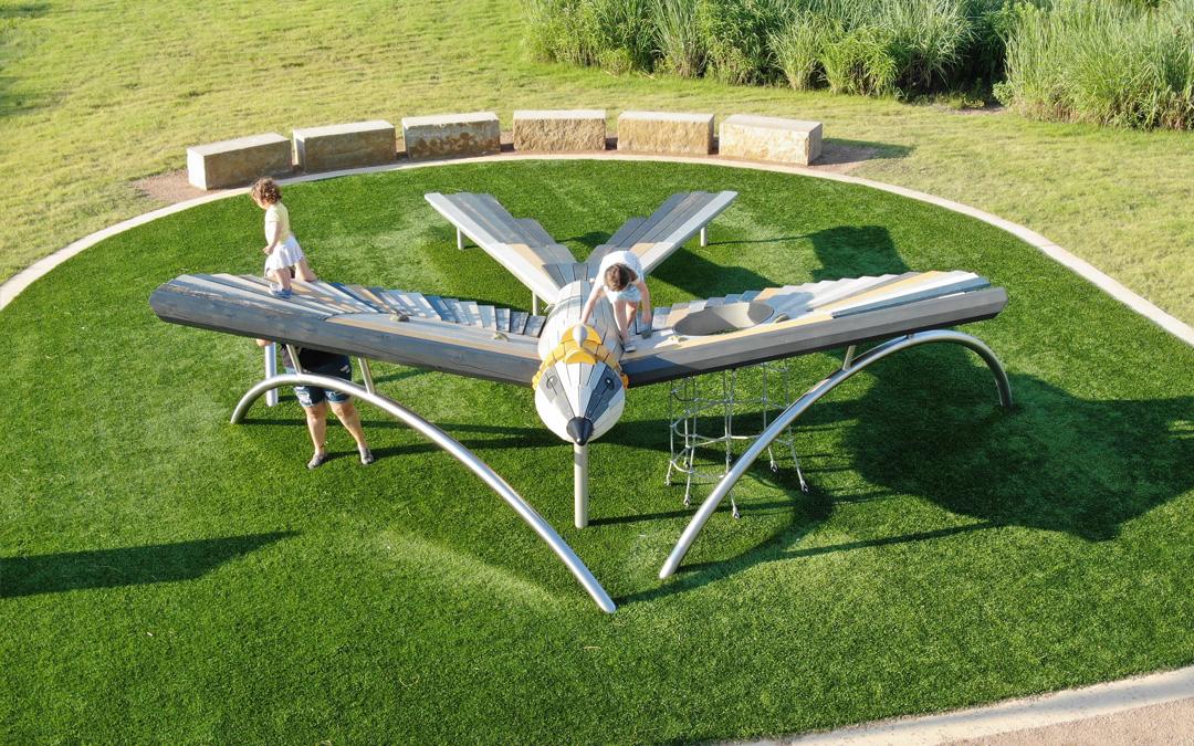 aerial view of Scissortail bird playground sculpture