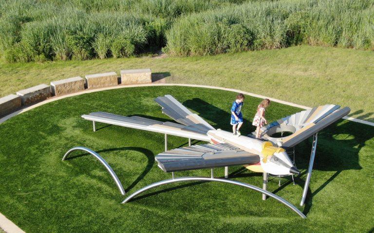 Scissortail bird public art playground sculpture