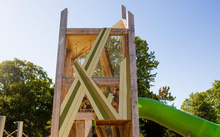 Green criss cross cladding of John Ball Zoo playground tower
