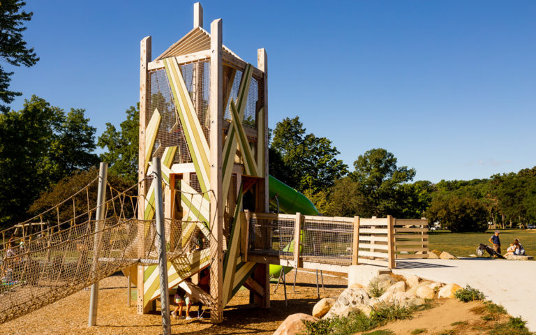 Playground tower with accessible wooden bridge at John Ball Zoo