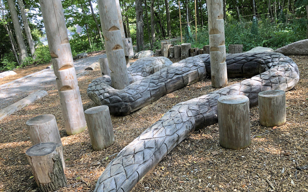 gord weeden woodlot markham ontario park natural wood playground giant snake sculpture steppers