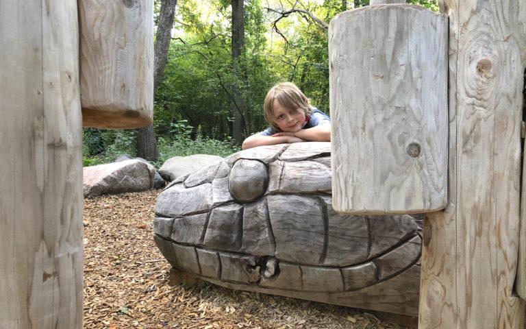 gordon weeden woodlot natural playground forest robinia logs snake sculpture