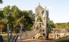 Playground tower in Grand Rapids with swinging net bridge