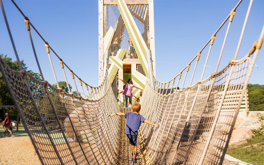 Net bridge leads to playground tower at John Ball Zoo playground