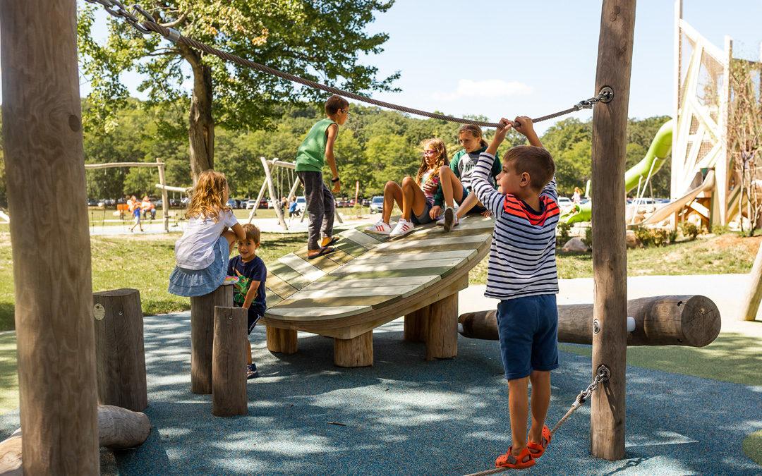 Children climb on angled leaf deck of Grand Rapids Michigan playground
