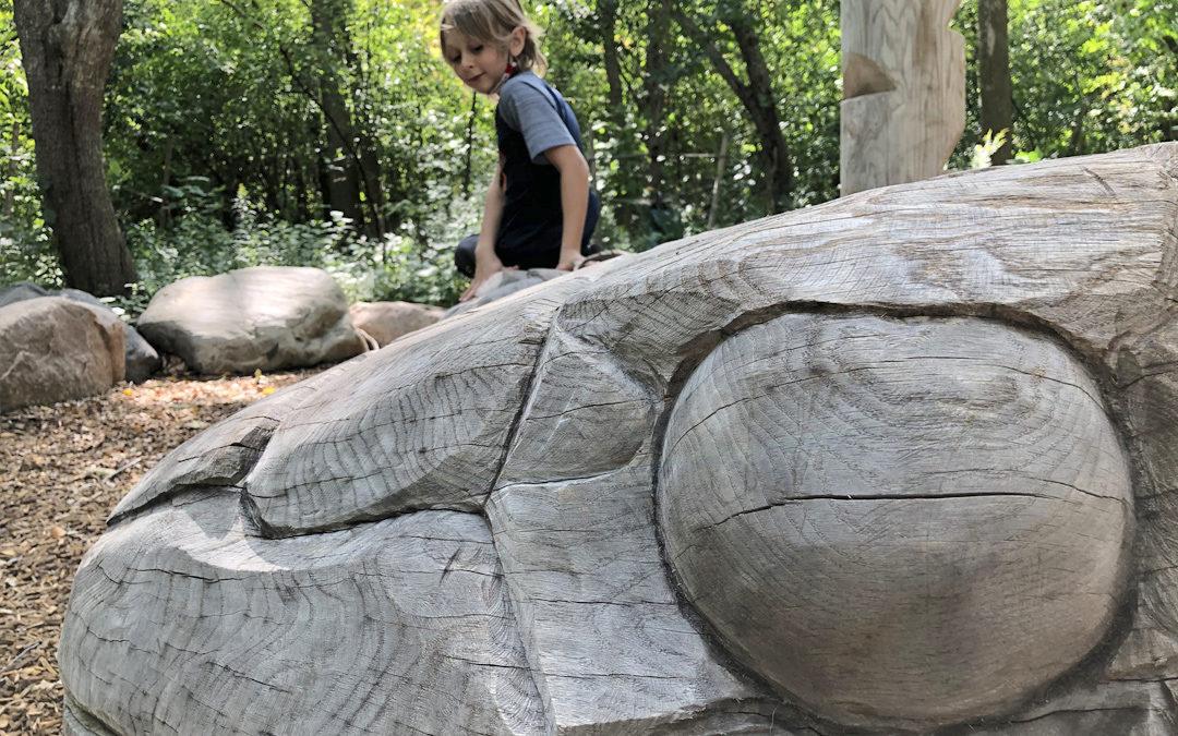natural wood playground oak carving giant snake markham ontario