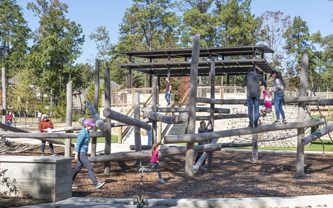 woodland hills park natural playground log jam climber nets ropes non prescriptive