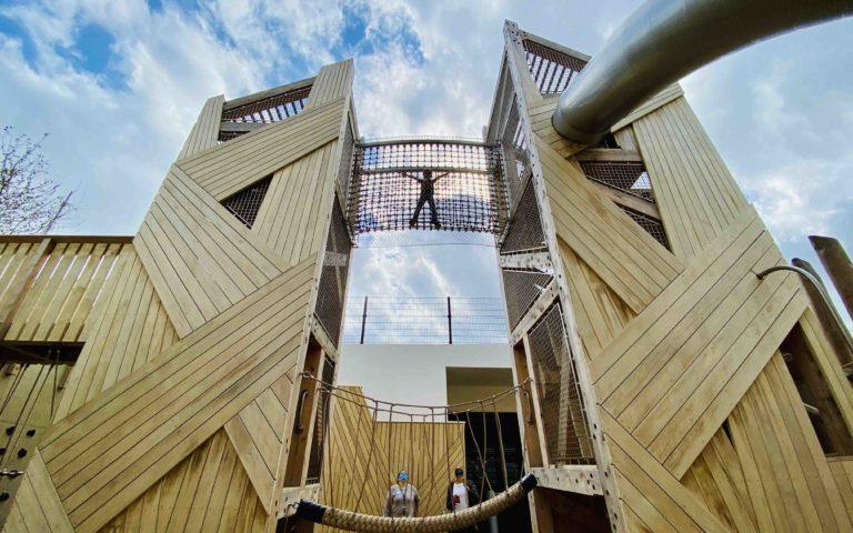 Georgetown Day School playground towers net bridge