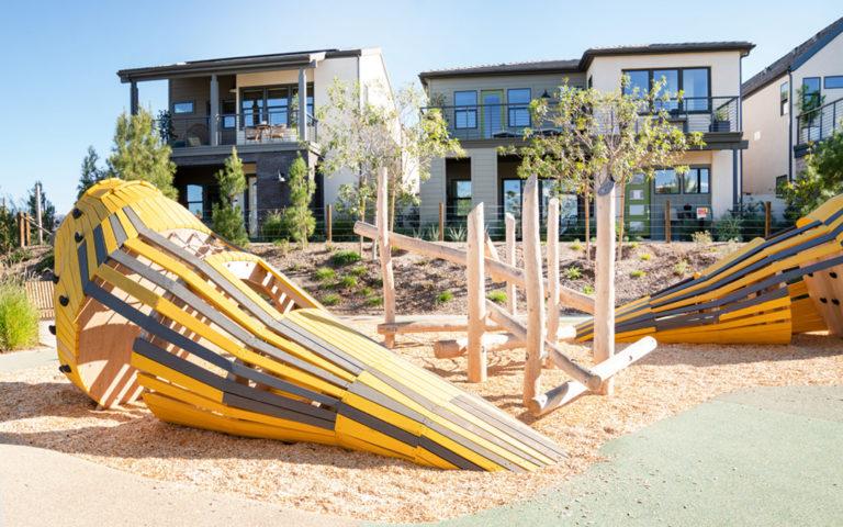 California natural wood playground custom bird sculptures robinia log climber