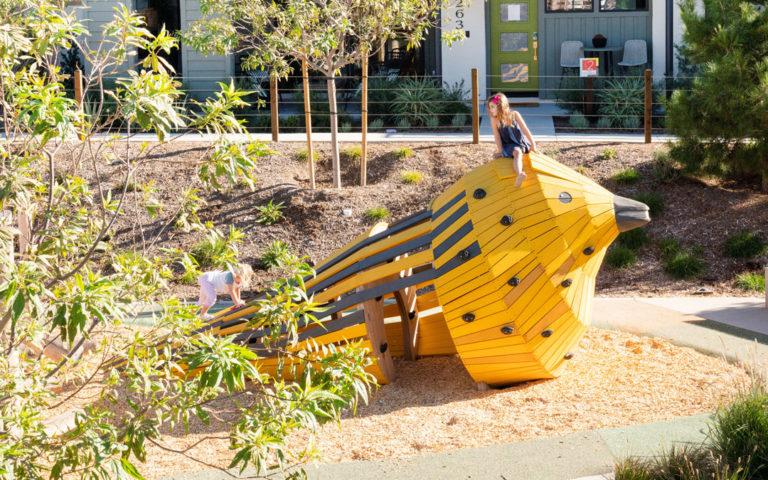 Irvine California natural wood playground accoya custom bird sculpture