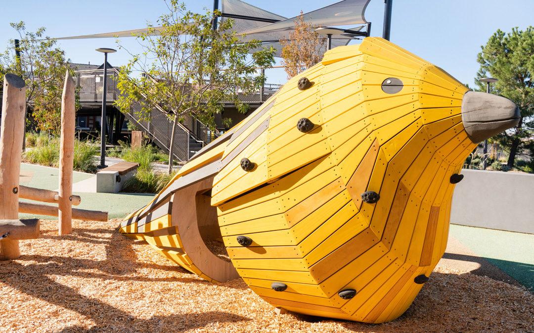 natural wood playground Irvine California custom accoya bird sculpture