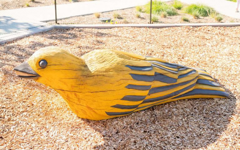 Overlook Park Irvine California bird oak carving custom natural playground
