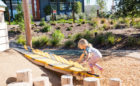 Overlook park natural playground Irvine California robinia log steppers feather