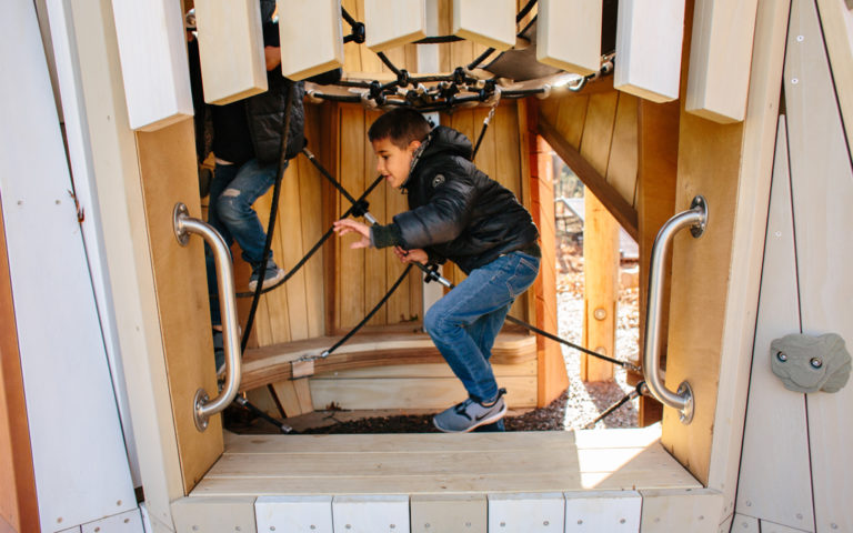 custom wood hawk sculpture tower transfer bench net rope climber