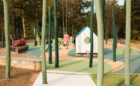 E Carroll Joyner park natural wood playground robinia posts birdhouse hut worm cardinal sculpture