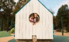 E Carroll Joyner park Wake Forest birdhouse hut social play natural wood playground