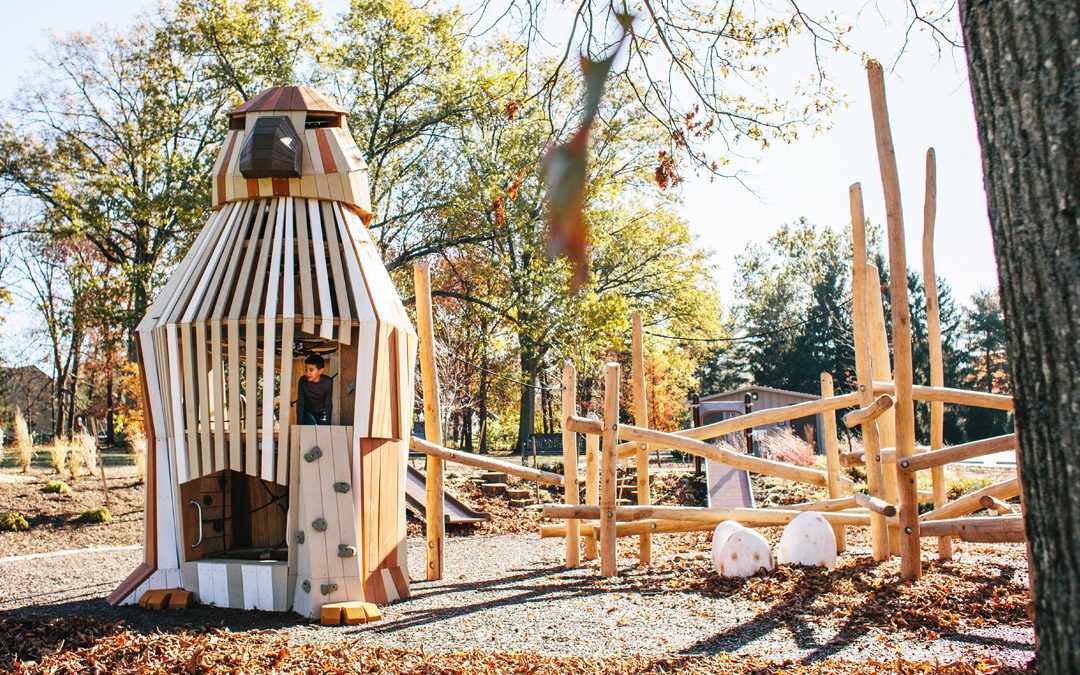 Johnston McVay park natural playground hawk sculpture tower robinia log climber