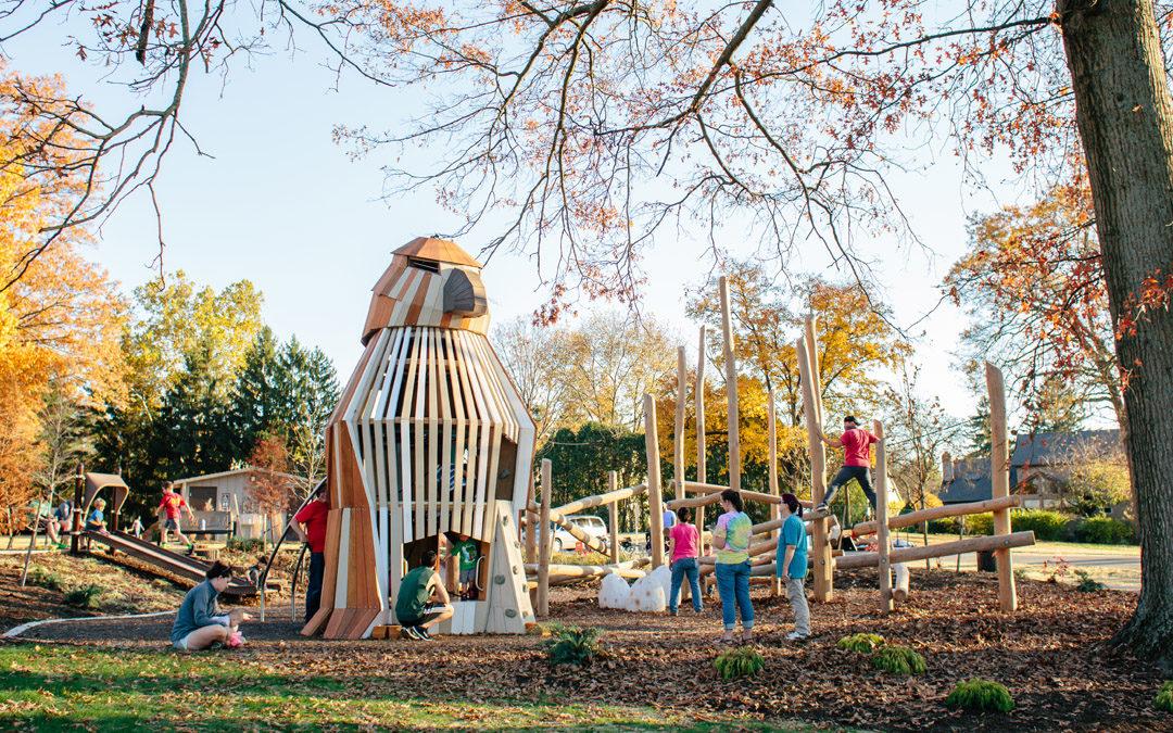 Johnston McVay park natural wood playground hawk sculpture log jam bird egg