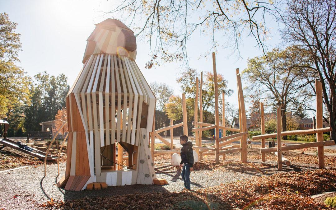 Johnston-McVay park natural wood playground hawk sculpture tower transfer bench log climber