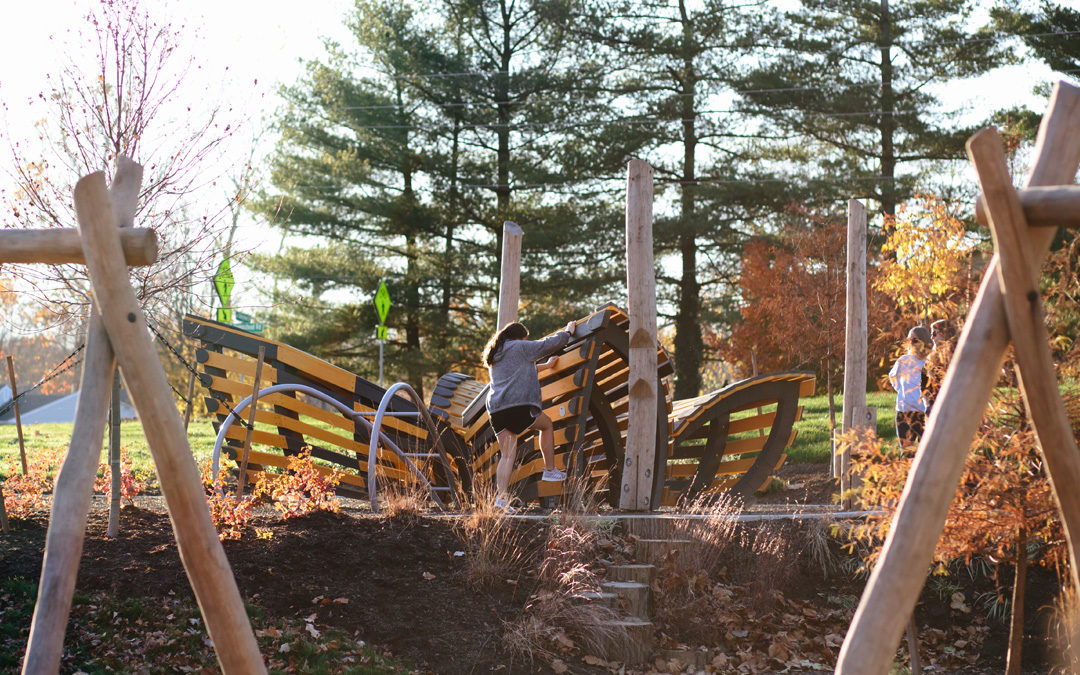Johnston-McVay park Westerville Ohio natural playground butterfly sculpture
