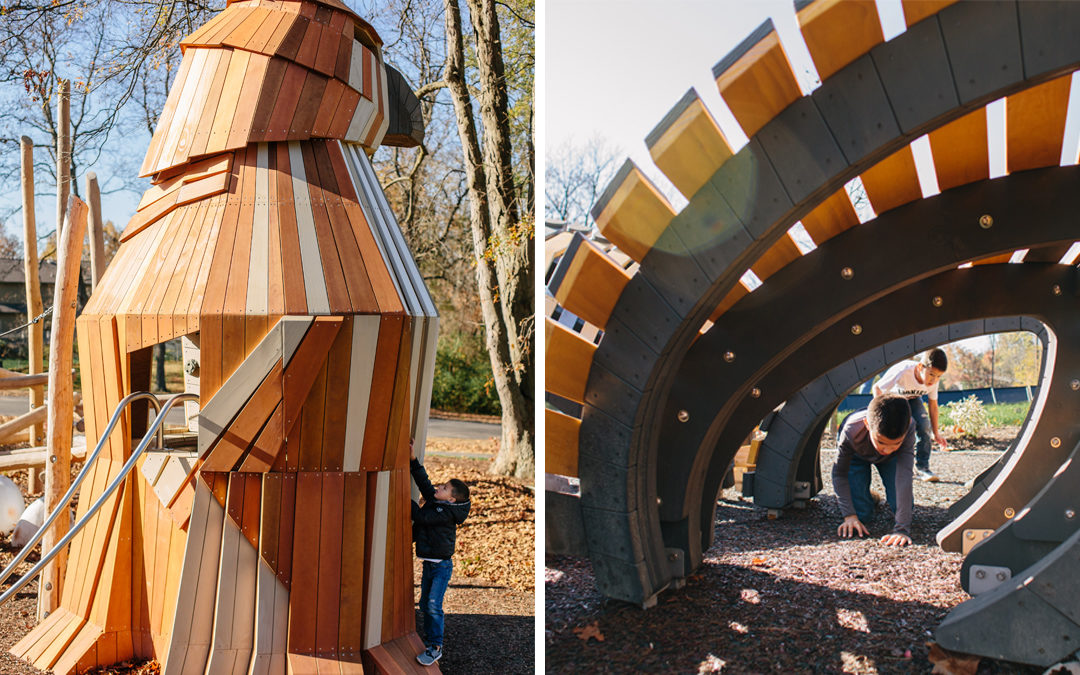 Johnston-McVay park Westerville Ohio natural wood playground hawk butterfly sculpture