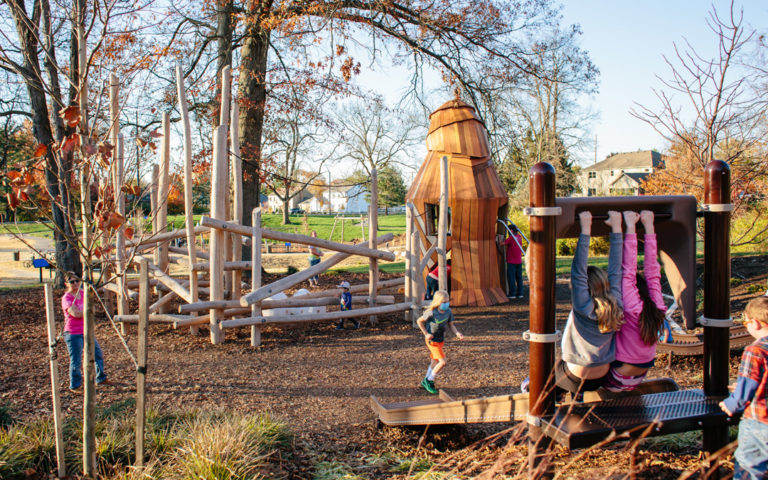 natural playground Westerville Ohio roller slide hawk sculpture robinia log climber