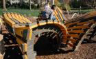 Westerville Ohio Hempstead Park natural playground butterfly sculpture climbing tunnels