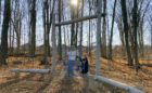 custom natural wood playground robinia log rope net climber
