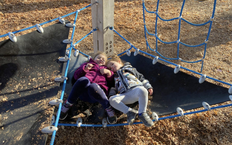 custom wood playground with flexible rubber sling seats climbing gathering