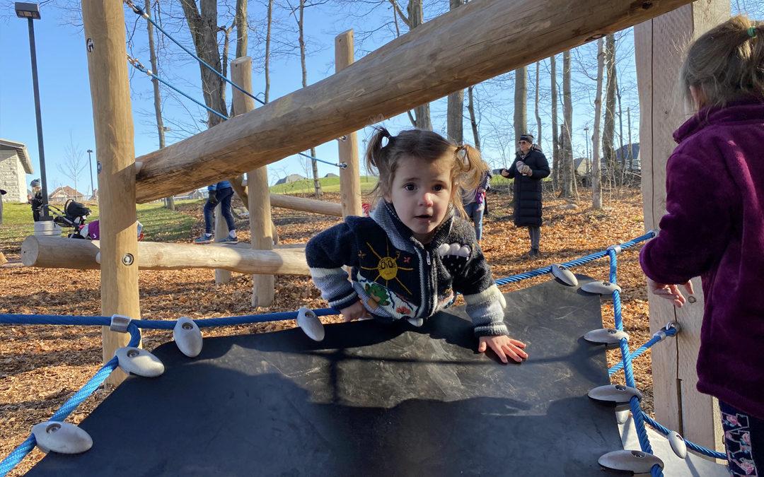 custom wood playground natural robinia log climber flexible rubber sling seat