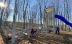 Walter Henry Park Orillia custom wood natural playground tower tube slide robinia log climber