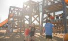 houston natural playground triple towers net bridges tube slides net rope climbing ladders