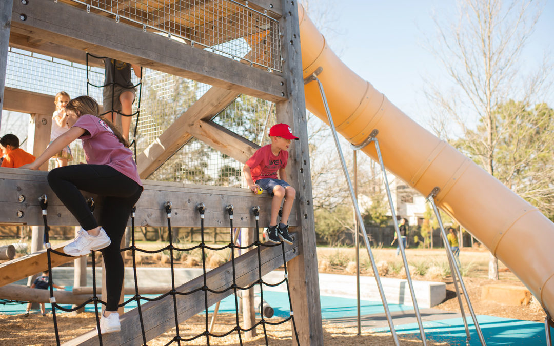 Houston Texas natural wood playgorund timber towers tube slide net climbing ropes