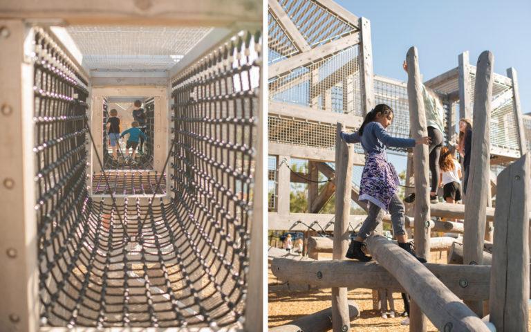 Pine Cove NW Harris Houston Texas timber towers net bridge natural playground robinia log climbers