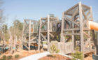 Pine Cove North West Harris natural playground triple towers tube slide climbing wood timber