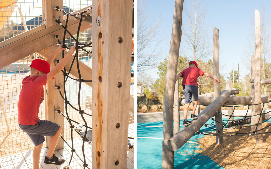 Pine Cove Texas natural wood playground timber towers rope ladder climber robinia log jam