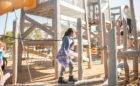 Texas natural playground Houston wood timber towers log jam climbers robinia ropes