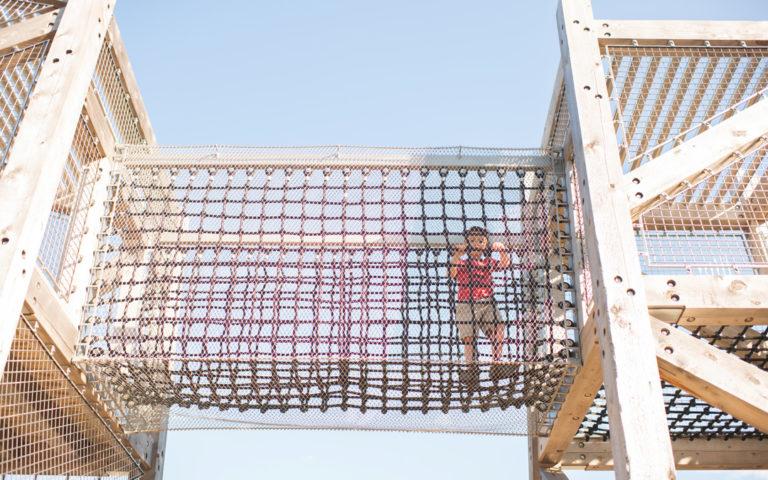 Texas wood playground timber towers net bridge adventure play natural