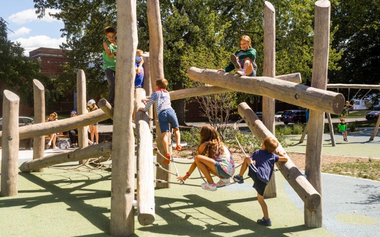 children play together on log jam at John Ball Zoo playground