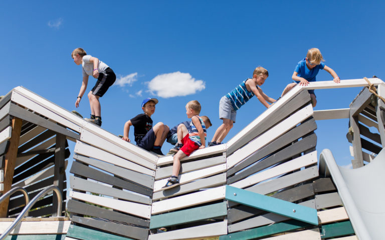 five boys on mountain at Calgary playground