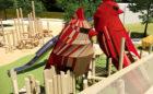 Cardinal playground downtown Cary North Carolina view from bridge