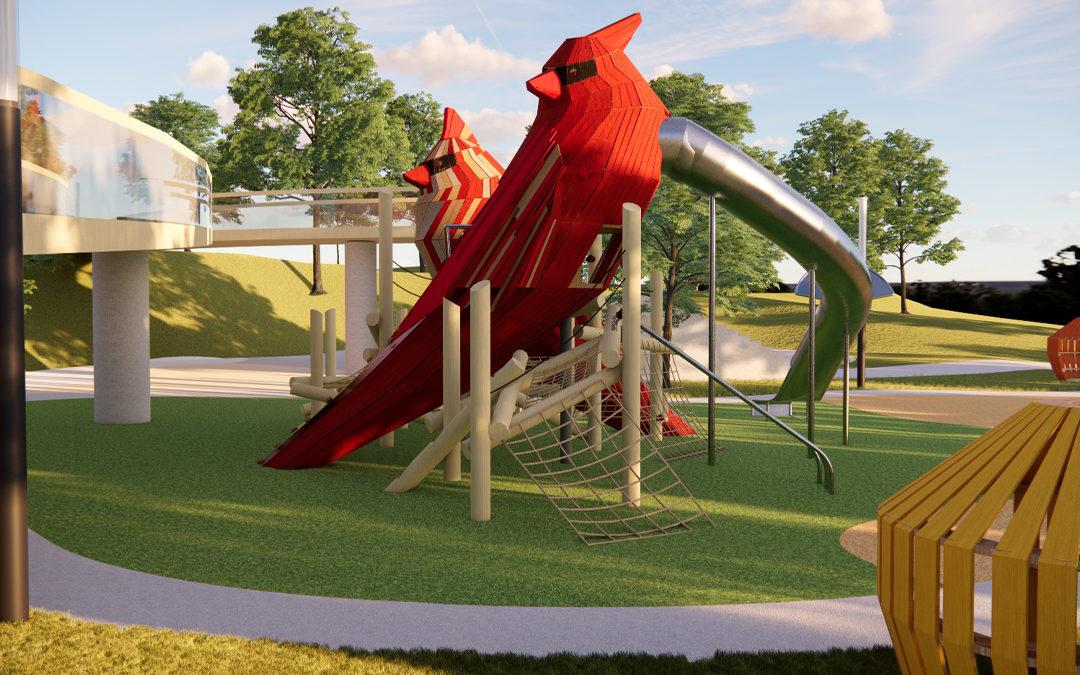 cardinal playground sculpture daytime downtown Cary Park