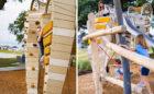 Custom Arabian Horse sculpture natural wood playground robinia climber