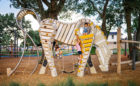 custom natural playground bespoke arabian horse sculpture rope climber playable art