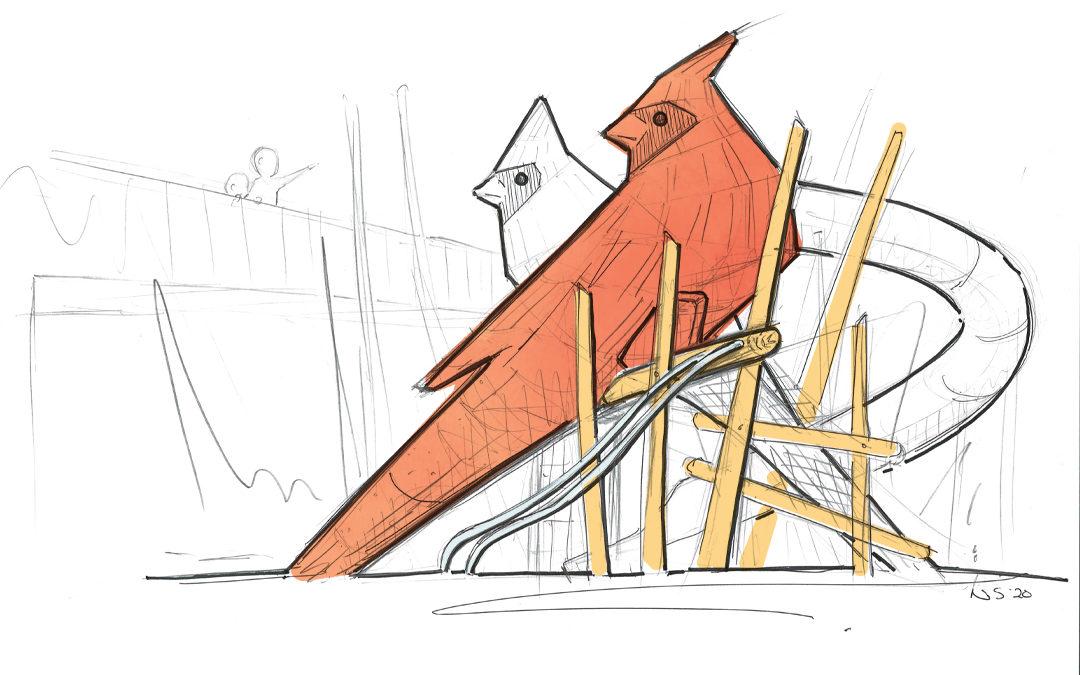 handsketch cardinals playground sculpture downtown Cary Park