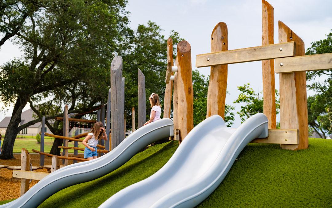 natural playground amira texas wavy hill slide wood log climbers