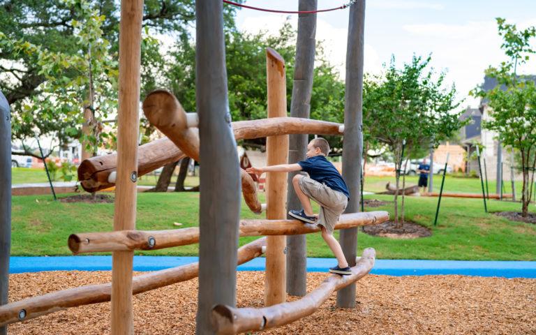 natural wood playground texas robinia log climber high challenge non prescriptive